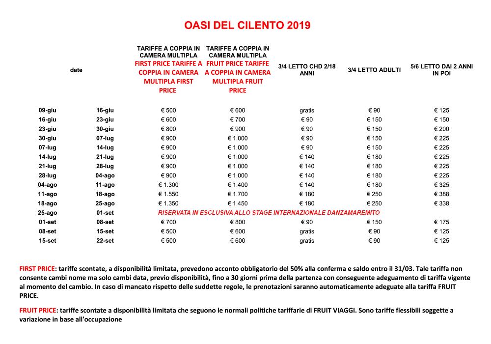 Oasi del Cilento - Tariffe 2019  formula hotel pensione completa